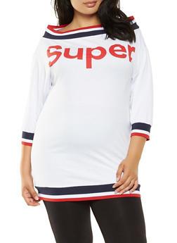 Plus Size Super Graphic Tunic Top - 3912062129092