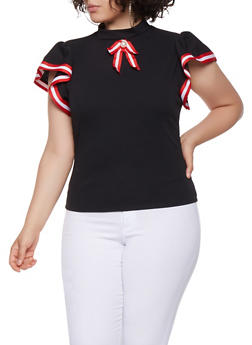 Plus Size Striped Ribbon Trim Top - 3912062129099