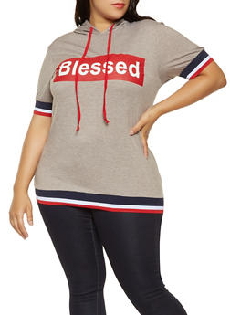 Plus Size Blessed Graphic Hooded Tee - 3912062129100