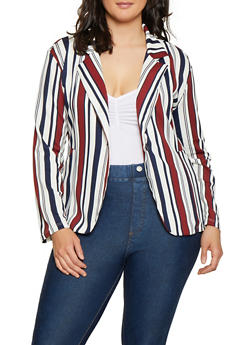 Plus Size Textured Knit Striped Blazer - 3912062700843