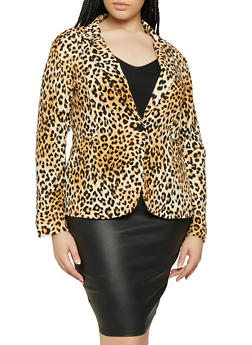 Plus Size Cheetah Print Blazer - 3912062700844