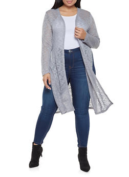 Plus Size Marled Cardigan - 3912062700933