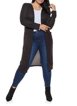 Plus Size Rib Knit Duster - 3912062702245