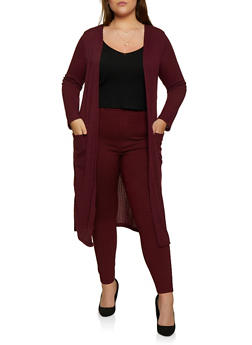 Plus Size Ribbed Knit Two Pocket Duster - 3912062702246
