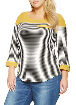 Plus Size Striped Tabbed Sleeve Top - 3912062702294