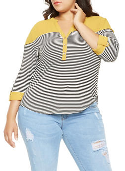Plus Size Striped Tabbed Sleeve Top - 3912062702295