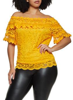 Plus Size Off the Shoulder Floral Crochet Top - 3912062702405