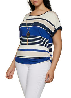 Plus Size Multi Stripe Top with Necklace - 3912062702550