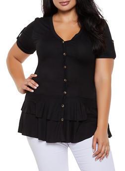 Plus Size Short Sleeve Button Detail Peplum Top - 3912062702924