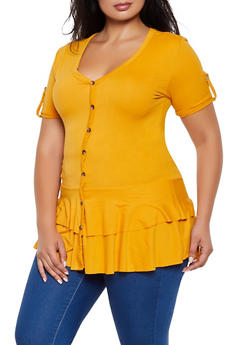 Plus Size Short Sleeve Button Detail Peplum Top - 3912062702924