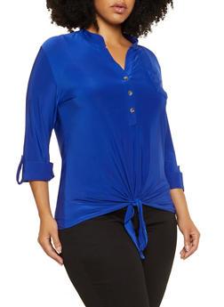 Plus Size Tie Front Half Button Top - 3912062702927
