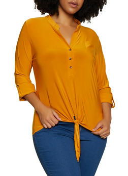 Plus Size Tie Front Half Button Top - 3912062702927
