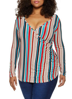 Plus Size Striped Faux Wrap Long Sleeve Top - 3912062702952