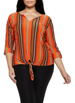 Plus Size Striped Fixed Cuff Top - 3912062702953