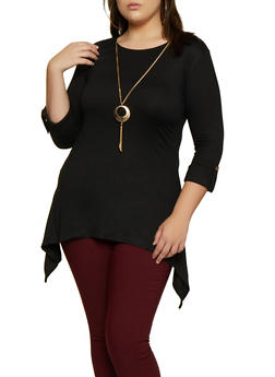 Plus Size Sharkbite Cuffed Top with Necklace - 3912062702954