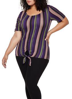 Plus Size Striped Tie Front Top | 3912062702957 - 3912062702957