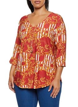 Plus Size Status Print Top with Necklace - 3912062702986