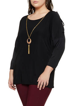 Plus Size Lace Up Sleeve Top with Necklace - 3912062702989