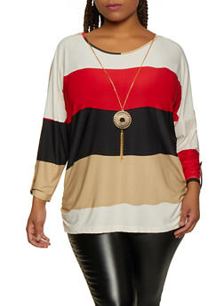 Plus Size Color Block Striped Top with Necklace - 3912062702990