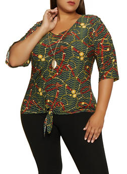Plus Size Printed Tie Front Top with Necklace - 3912062702991