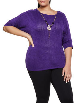 Plus Size Knit Top with Necklace - 3912062702993