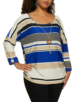 Plus Size Ruched Side Striped Top with Necklace - 3912062702994