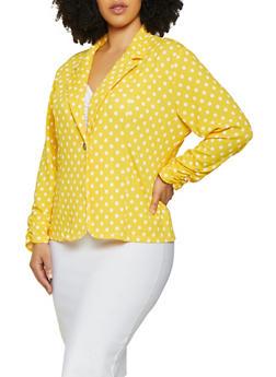 Plus Size Ruched Sleeve Polka Dot Blazer - 3912062703024