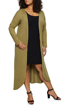 Plus Size Soft Knit Long Sleeve Duster - 3912062703028