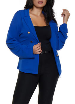 Plus Size Button Detail Textured Knit Blazer - 3912062703037