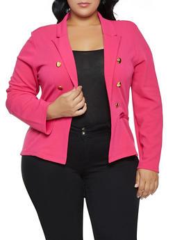 Plus Size Button Detail Textured Knit Blazer - 3912062703037