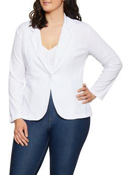 Plus Size Textured Knit Solid Blazer - 3912062703084