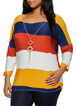 Plus Size Striped Three Quarter Sleeve Top - 3912062703122