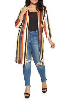 Plus Size Striped Soft Knit Duster - 3912062705143