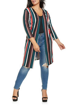 Plus Size Striped Soft Knit Duster - 3912062705144