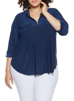 Plus Size Zip Up Pleated Top - 3912062706407