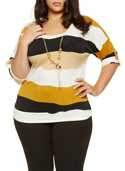 Plus Size Striped Top with Necklace - 3912062706531