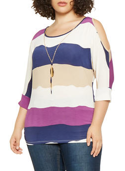Plus Size Striped Cold Shoulder Top with Necklace - 3912062706597