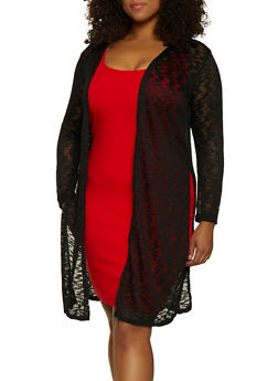 Plus Size Side Slit Open Front Duster - 3912062709934