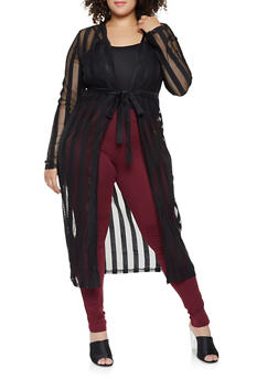 Plus Size Striped Mesh Duster - 3912062709970