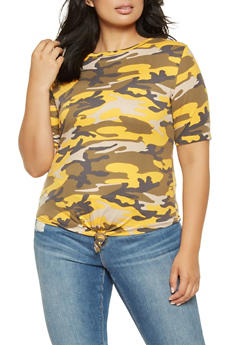 Plus Size Soft Knit Tie Front Camo Tee - 3912063406570