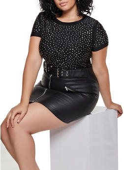 Plus Size Studded Tee - 3912064724320