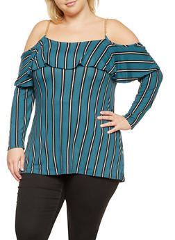 Plus Size Striped Off the Shoulder Tunic Top - 3912066592143