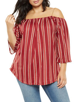 Plus Size Striped Off the Shoulder Top - 3912066592181