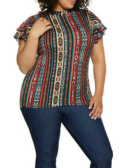 Plus Size High Low Tiered Sleeve Top - 3912066597035