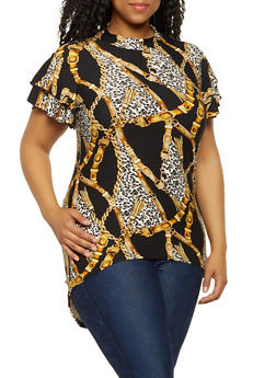 Plus Size Chain Animal Print High Low Top - 3912066597036
