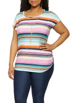 Plus Size Ruched Multi Stripe Top with Necklace - 3912066597038