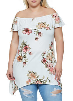 Plus Size Floral Off the Shoulder Sharkbite Hem Top - 3912066597039