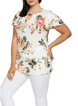 Plus Size Textured Knit Floral Top - 3912066597041