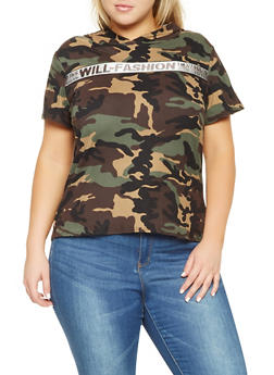 Plus Size Hooded Camo Tee - 3912072240211