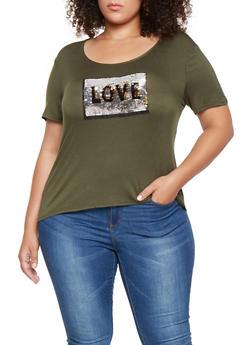 Plus Size Reversible Sequin Graphic Tee - 3912072240286